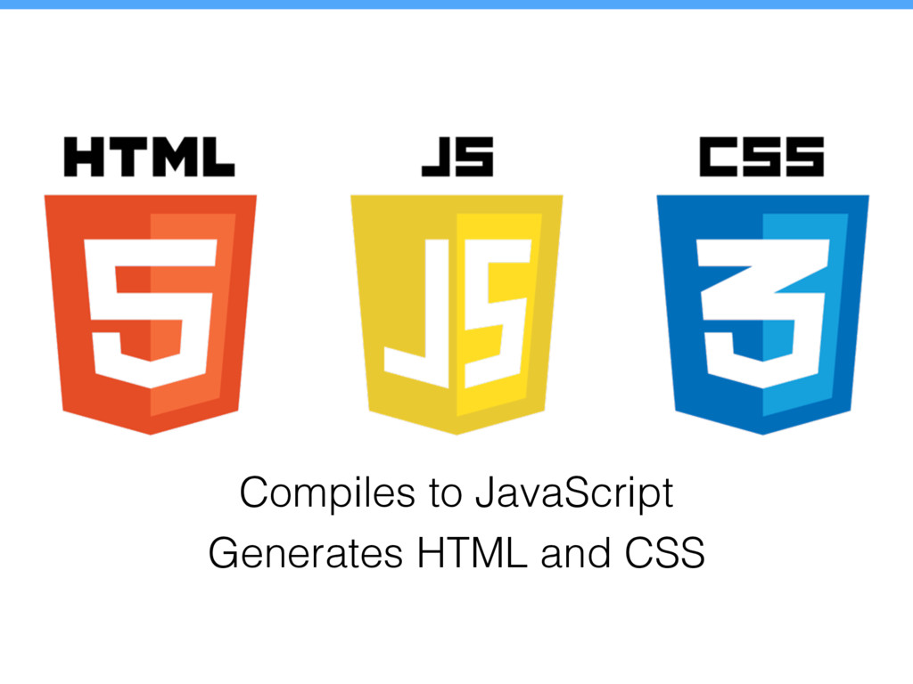 Compiles to JavaScript Generates HTML and CSS