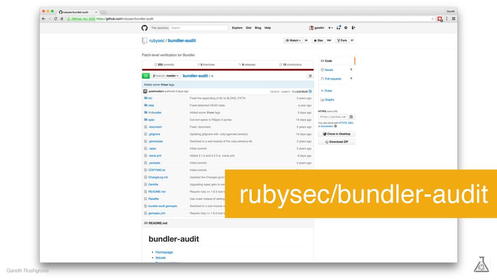 Gareth Rushgrove rubysec/bundler-audit