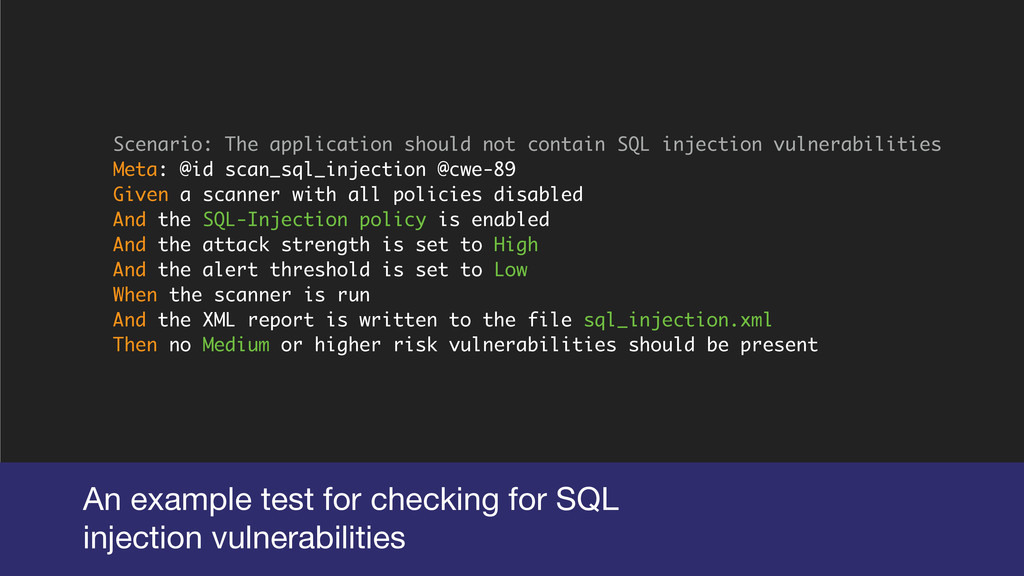 An example test for checking for SQL  injection...