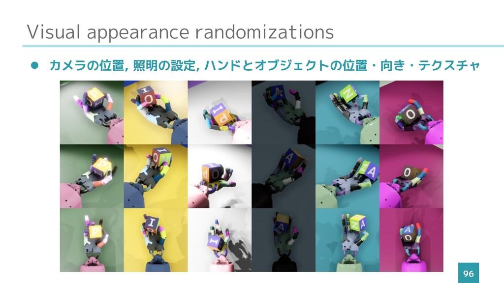 Visual appearance randomizations 96 ⚫ カメラの位置, 照...