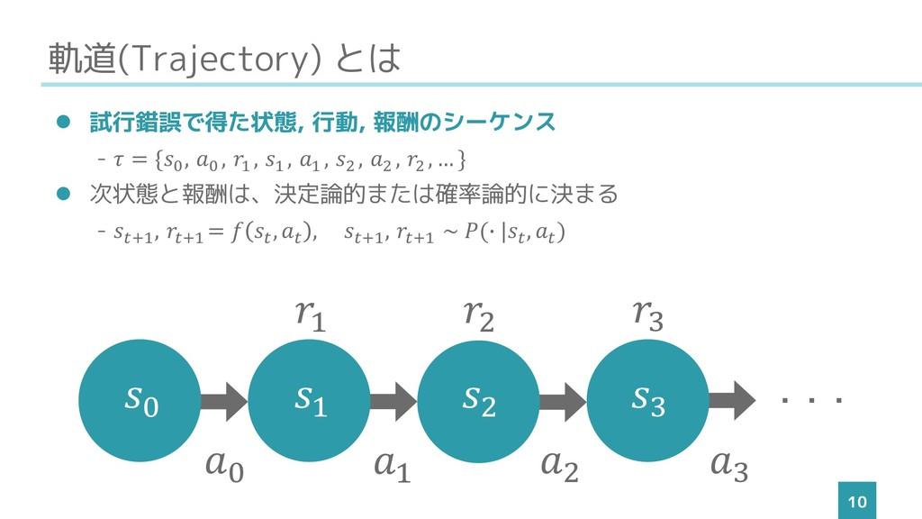 軌道(Trajectory) とは 10 ⚫ 試行錯誤で得た状態, 行動, 報酬のシーケンス ...