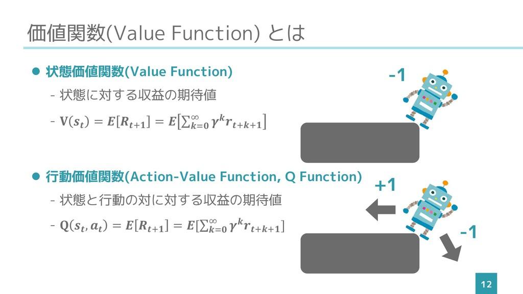 価値関数(Value Function) とは 12 ⚫ 状態価値関数(Value Funct...