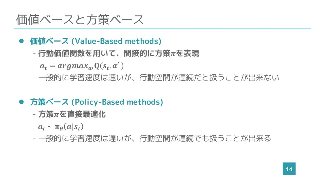 価値ベースと方策ベース 14 ⚫ 価値ベース (Value-Based methods) - ...