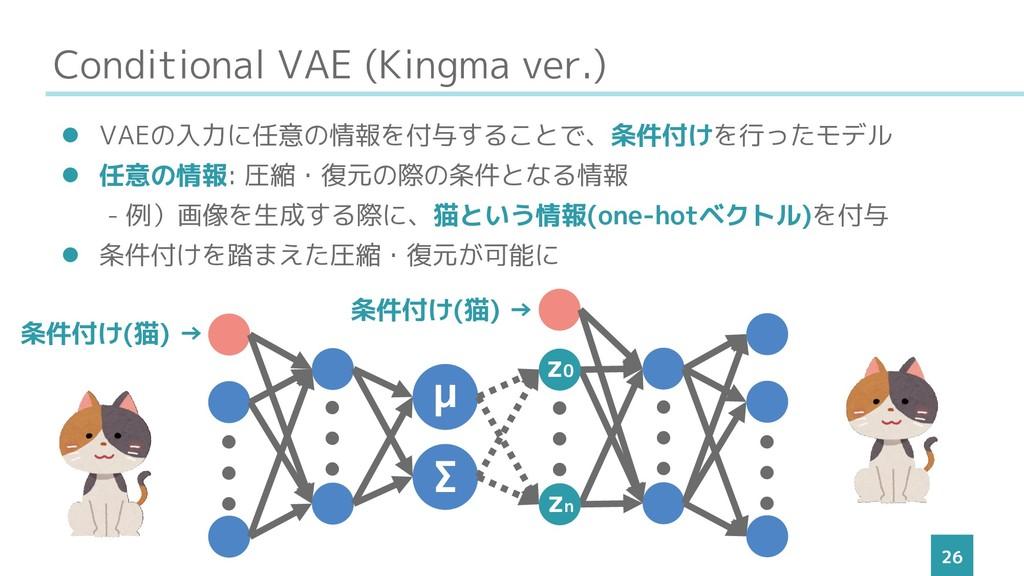 Conditional VAE (Kingma ver.) 26 ⚫ VAEの入力に任意の情報...