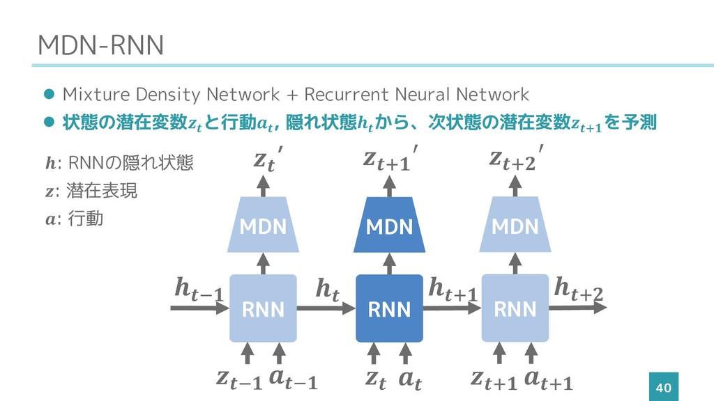 MDN-RNN 40 ⚫ Mixture Density Network + Recurren...