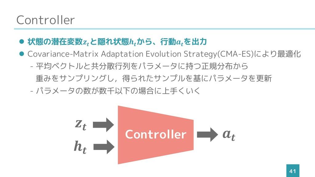 Controller 41 ⚫ 状態の潜在変数 と隠れ状態 から、行動 を出力 ⚫ Covar...