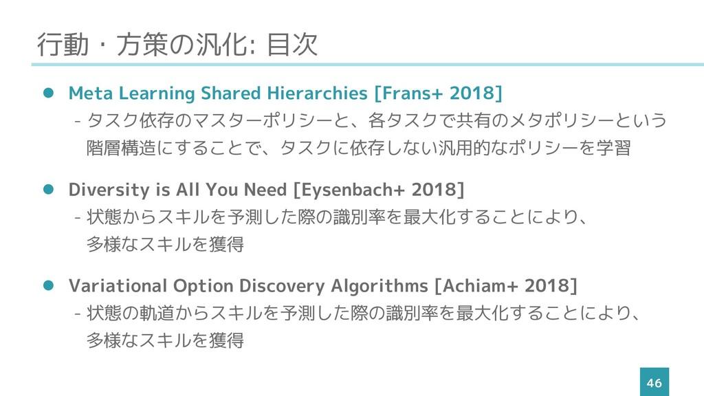 行動・方策の汎化: 目次 46 ⚫ Meta Learning Shared Hierarch...
