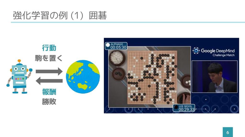 強化学習の例 (1) 囲碁 6 駒を置く 勝敗 行動 報酬