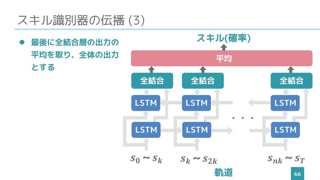 スキル識別器の伝播 (3) 66 ⚫ 最後に全結合層の出力の 平均を取り、全体の出力 とする ...
