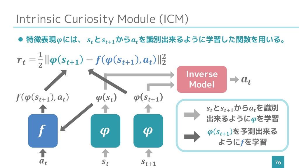 Intrinsic Curiosity Module (ICM) 76 ⚫ 特徴表現には、  ...