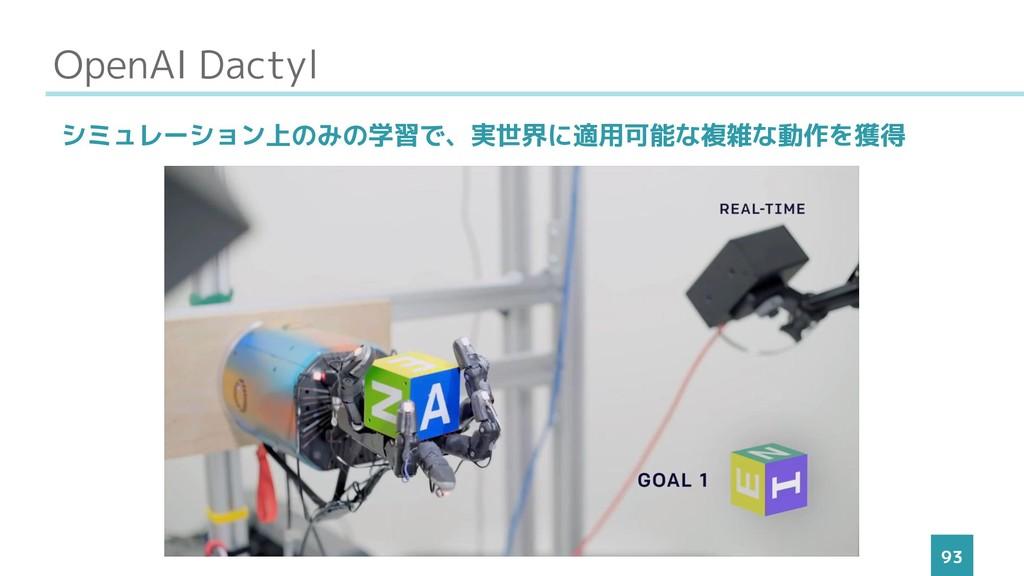 OpenAI Dactyl 93 シミュレーション上のみの学習で、実世界に適用可能な複雑な動作...