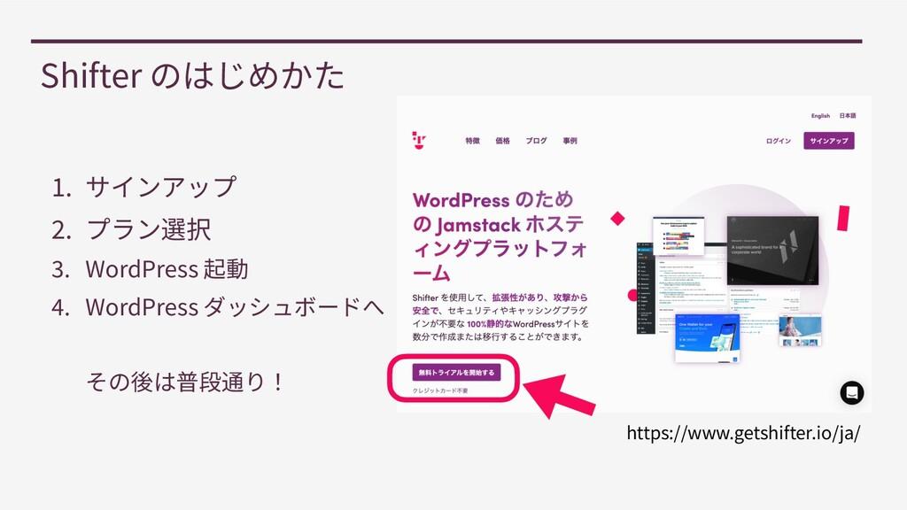 1 . サインアップ   2 . プラン選択   3 . WordPress 起動   4 ....
