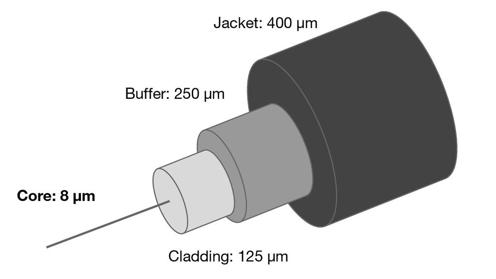 Jacket: 400 µm Buffer: 250 µm Cladding: 125 µm ...
