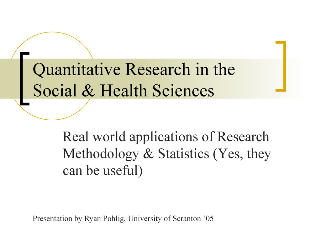 Real world applications of Research Methodology...