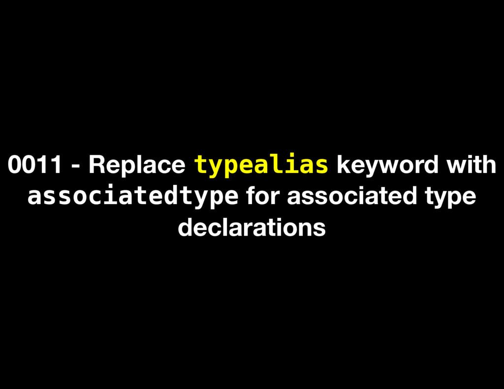 0011 - Replace typealias keyword with associate...