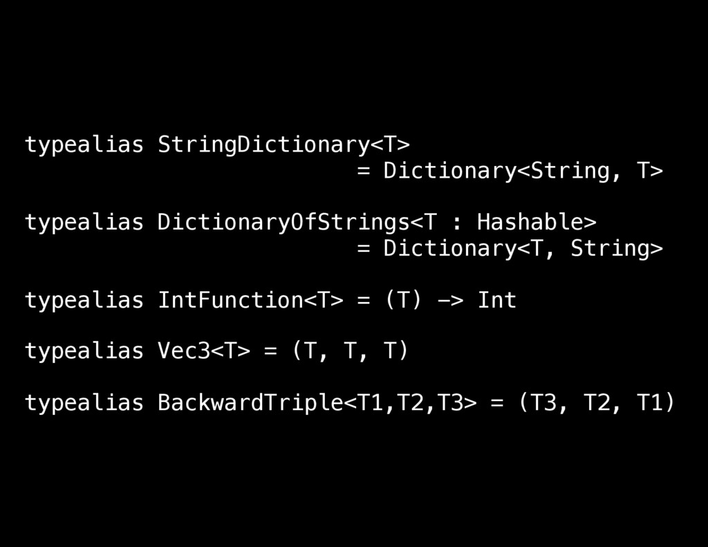 typealias StringDictionary<T> = Dictionary<Stri...
