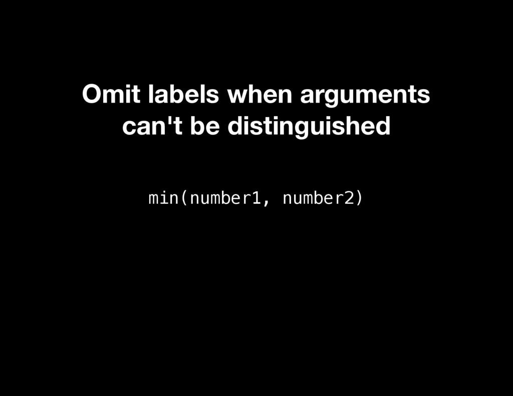 min(number1, number2) Omit labels when argument...