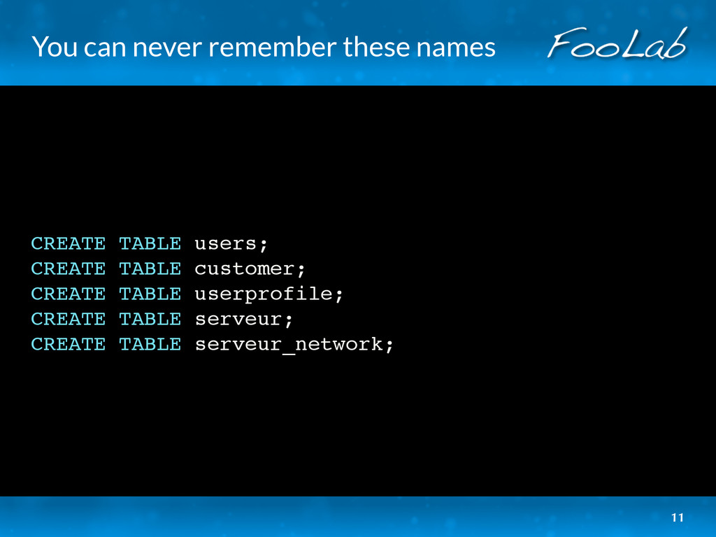 You can never remember these names CREATE TABLE...