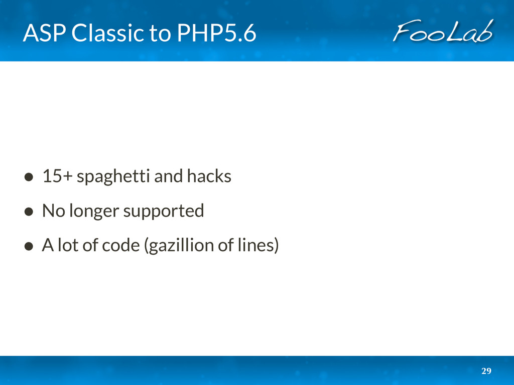 ASP Classic to PHP5.6 • 15+ spaghetti and hacks...