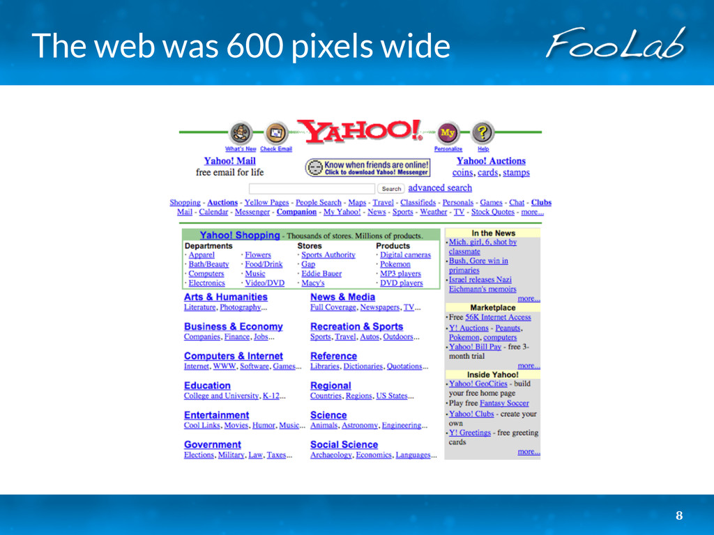 The web was 600 pixels wide 8