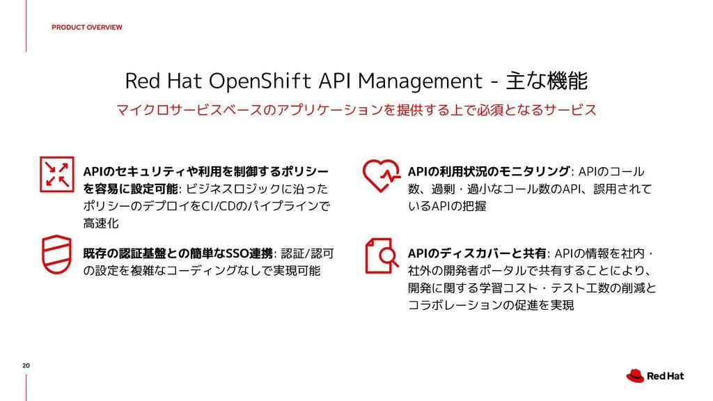 Red Hat OpenShift API Management - 主な機能 マイクロサービ...