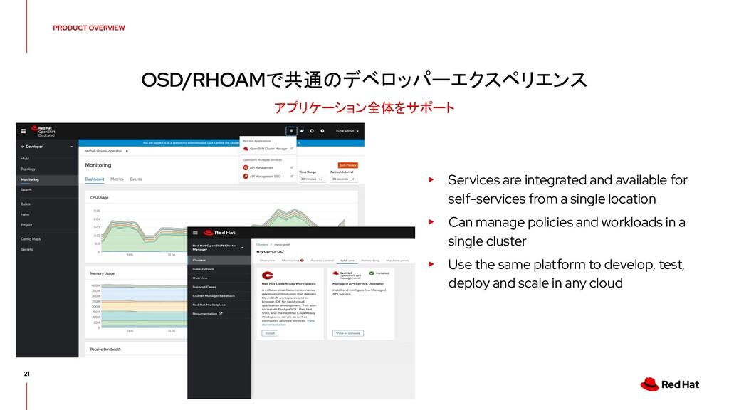 で共通のデベロッパーエクスペリエンス アプリケーション全体をサポート ▸ Services a...