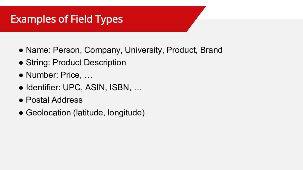 Examples of Field Types ● Name: Person, Company...