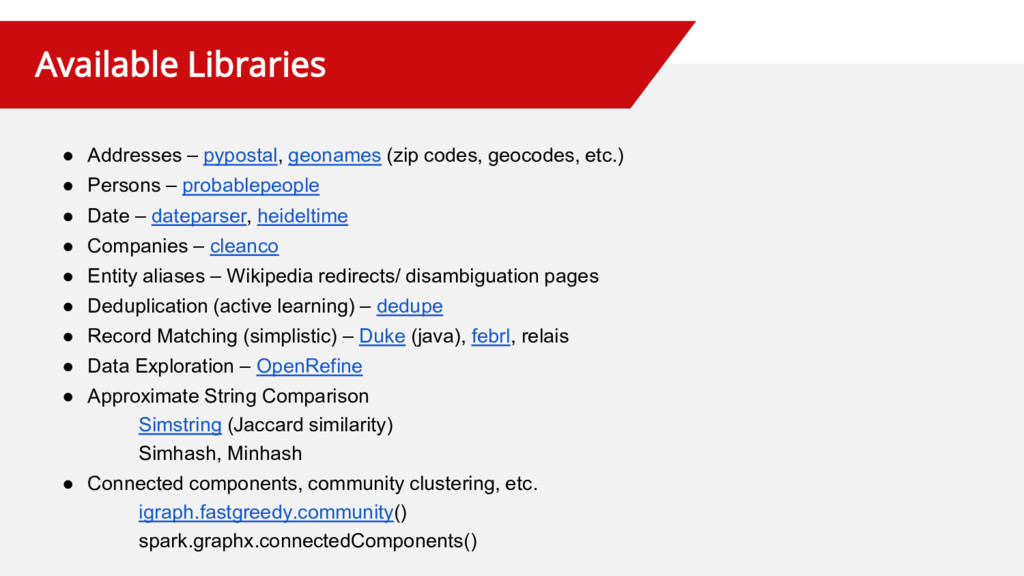 Available Libraries ● Addresses – pypostal, geo...