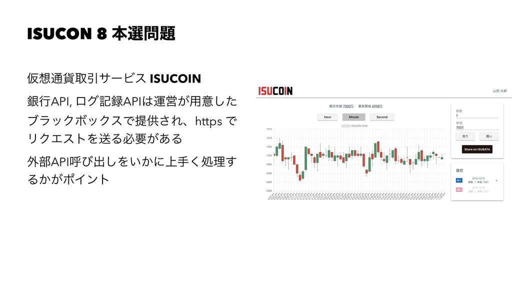 ISUCON 8 ຊબ Ծ௨՟औҾαʔϏε ISUCOIN ۜߦAPI, ϩάهAPI...