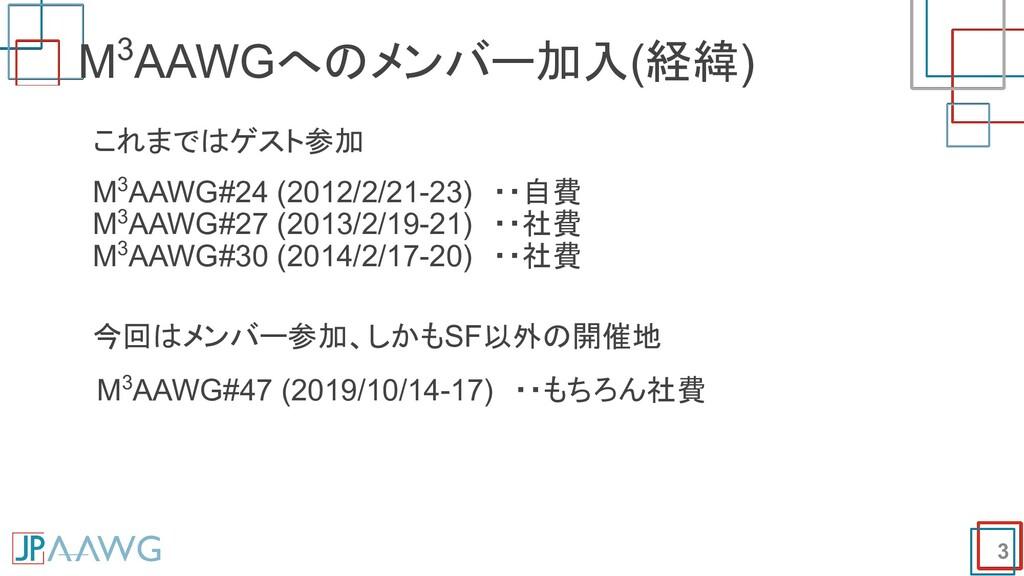 M3AAWGへのメンバー加入(経緯) 3 これまではゲスト参加 M3AAWG#24 (2012...