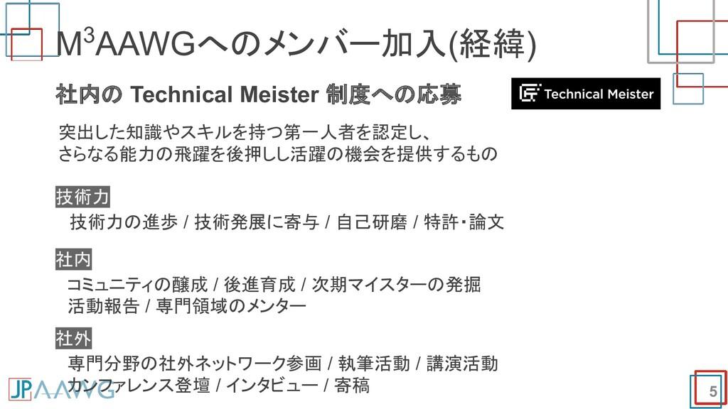 5 M3AAWGへのメンバー加入(経緯) 社内の Technical Meister 制度への...