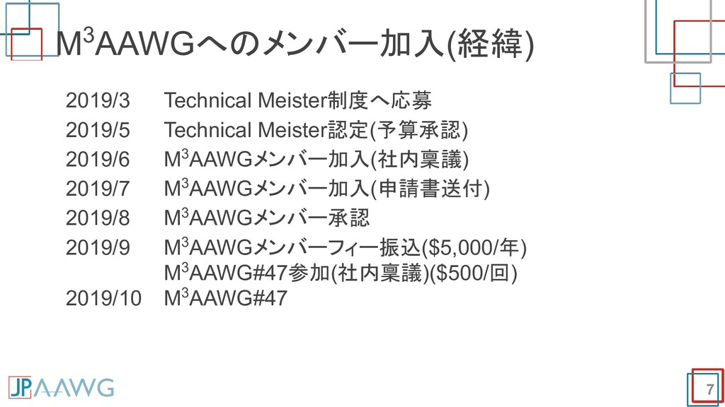 7 M3AAWGへのメンバー加入(経緯) 2019/3 Technical Meister制度...