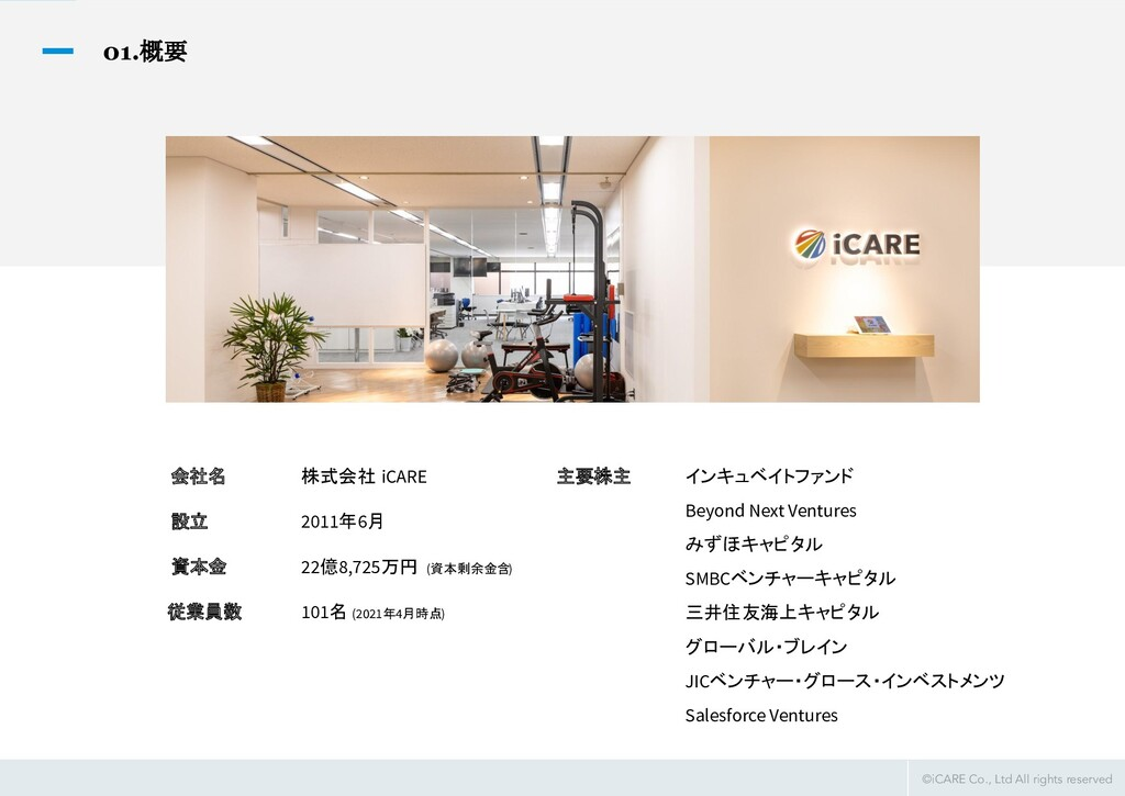 ©iCARE Co., Ltd All rights reserved 01.概要 会社名 ...