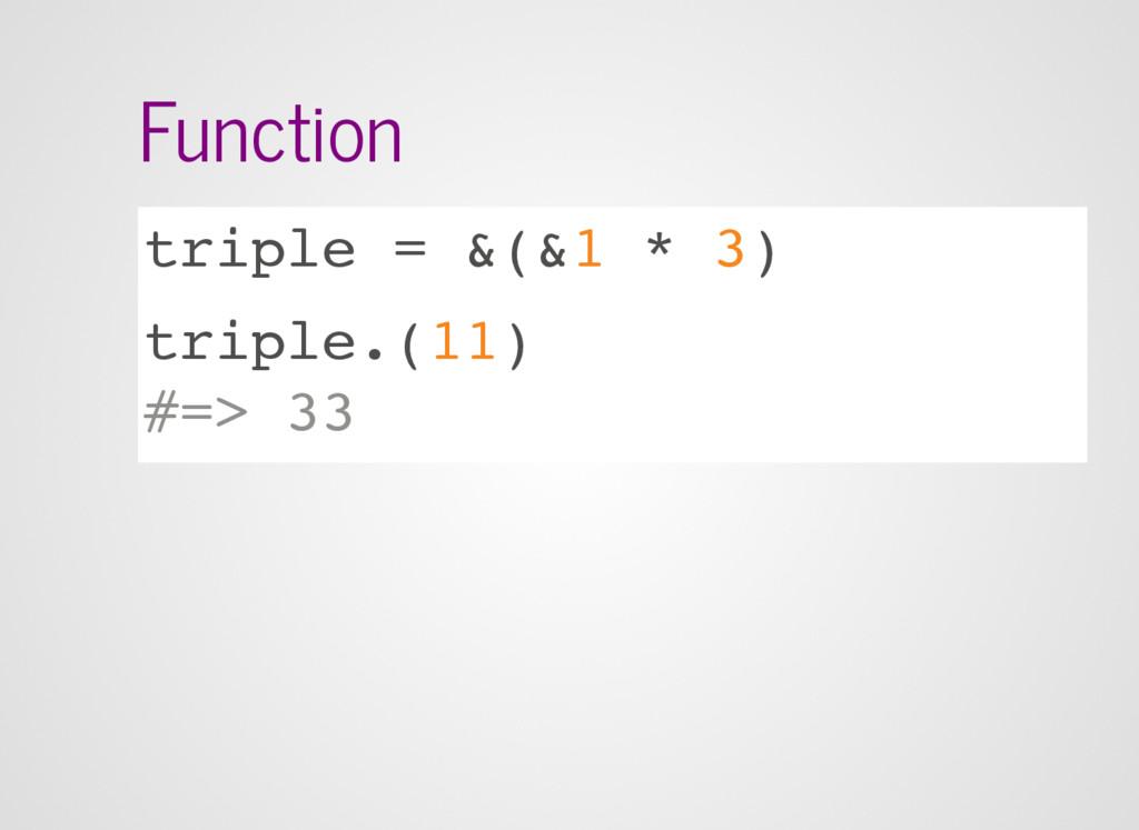 Function triple = &(&1 * 3) triple.(11) #=> 33