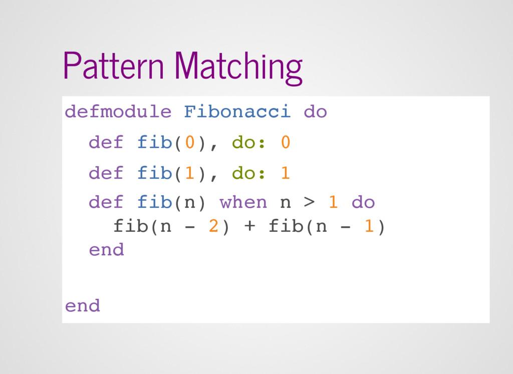 Pattern Matching defmodule Fibonacci do def fib...