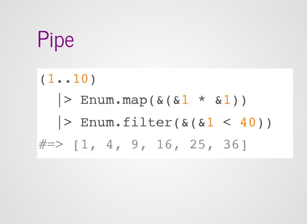 Pipe (1..10) |> Enum.map(&(&1 * &1)) |> Enum.fi...