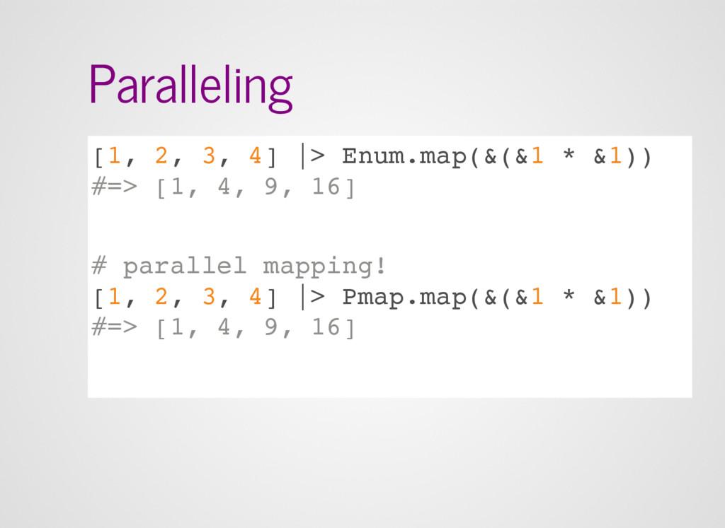 Paralleling [1, 2, 3, 4] |> Enum.map(&(&1 * &1)...
