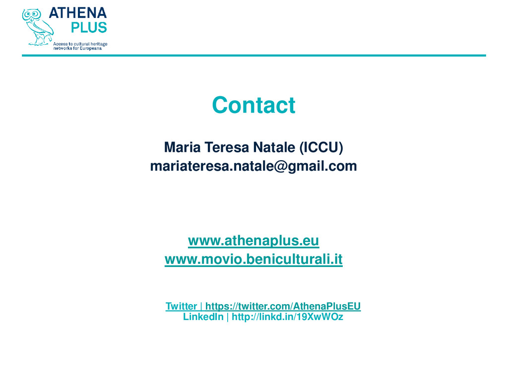 Contact Maria Teresa Natale (ICCU) mariateresa....
