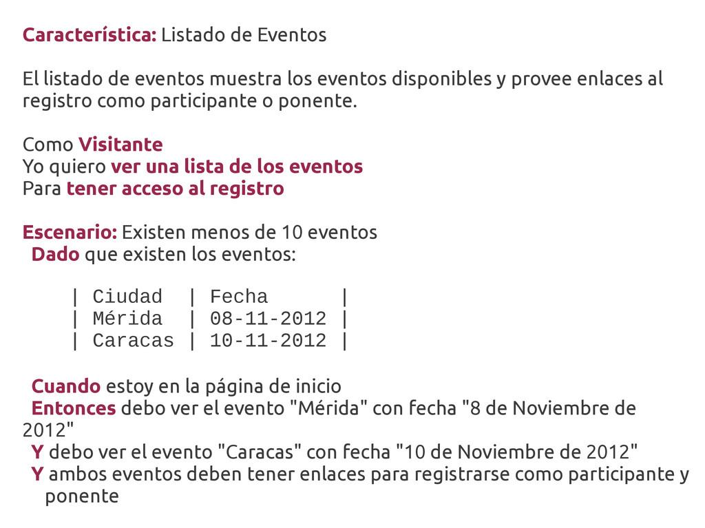 Característica: Listado de Eventos El listado d...