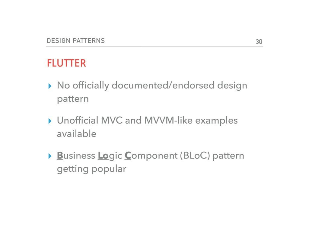 DESIGN PATTERNS FLUTTER ▸ No officially document...