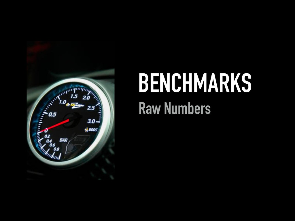 BENCHMARKS Raw Numbers
