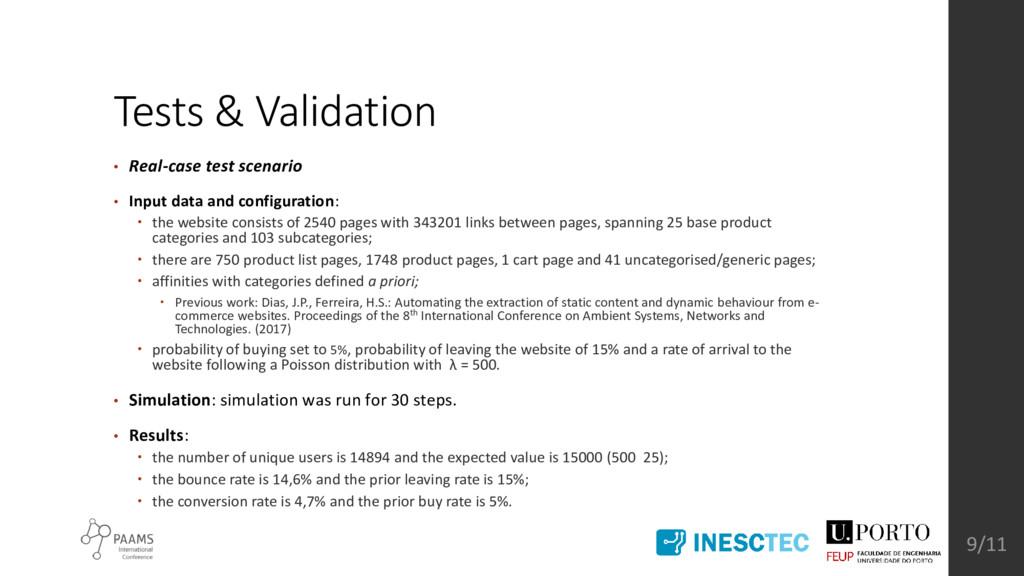 Tests & Validation • Real-case test scenario • ...
