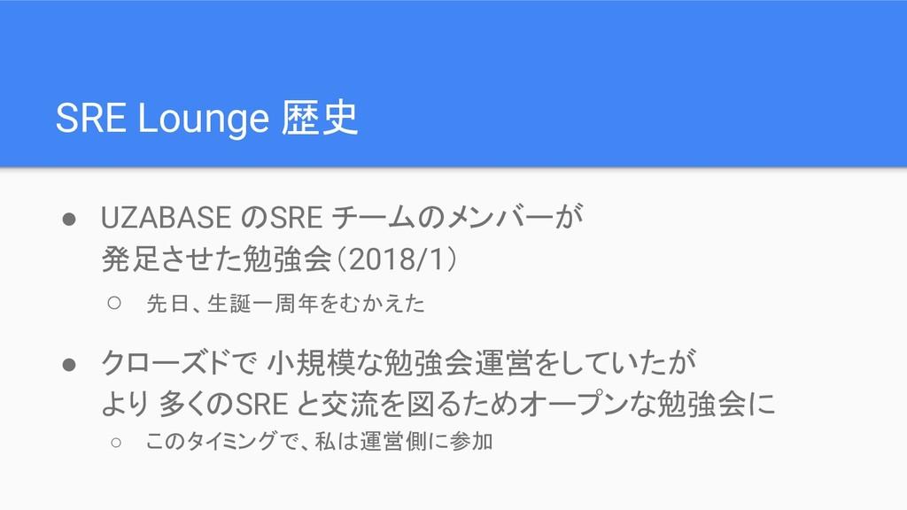 SRE Lounge 歴史 ● UZABASE のSRE チームのメンバーが 発足させた勉強会...