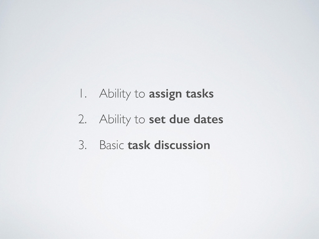 1. Ability to assign tasks 2. Ability to set du...