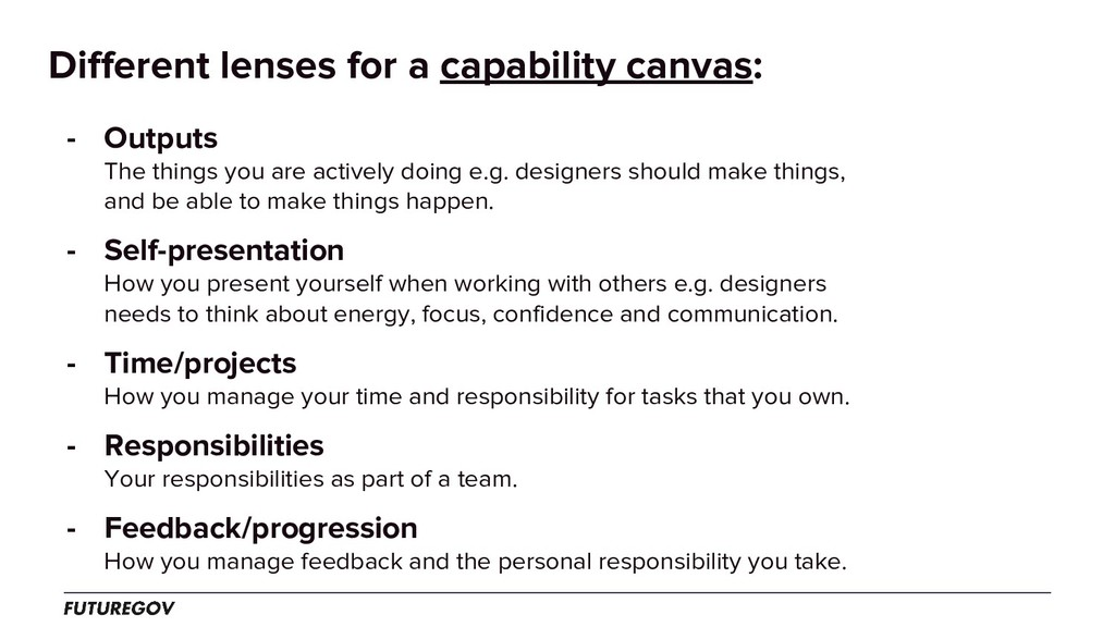 Different lenses for a capability canvas: - Out...