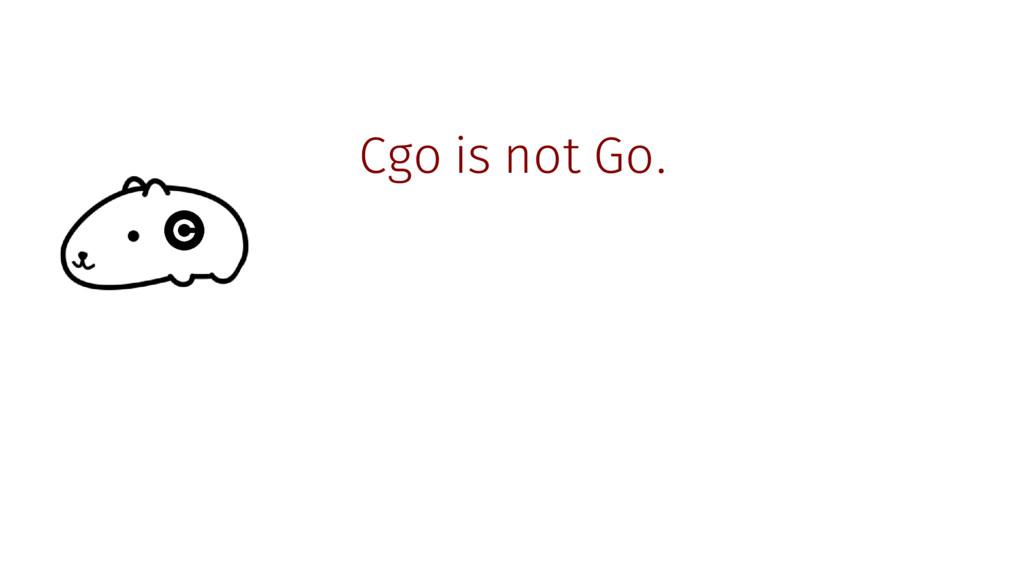 Cgo is not Go.