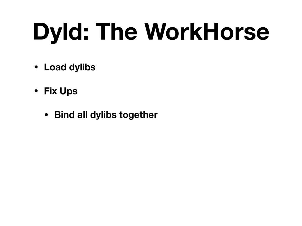 Dyld: The WorkHorse • Load dylibs • Fix Ups • B...