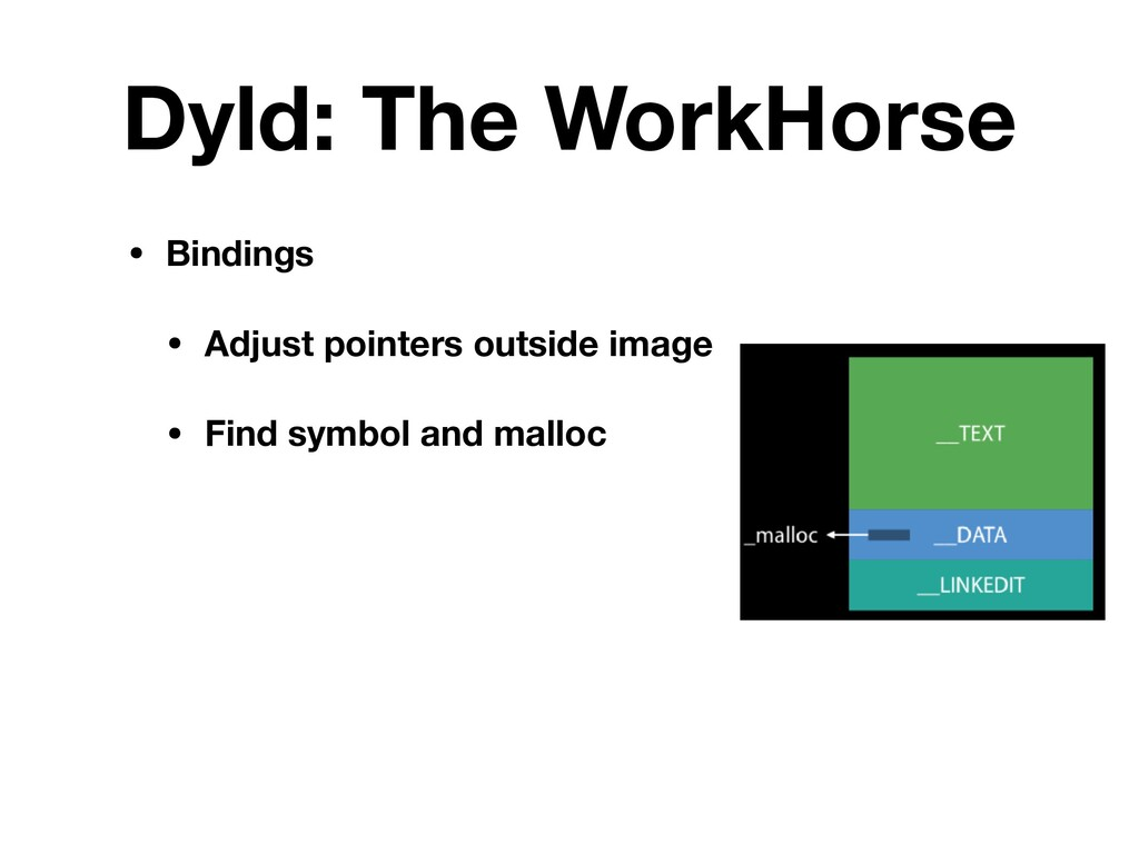 Dyld: The WorkHorse • Bindings • Adjust pointer...