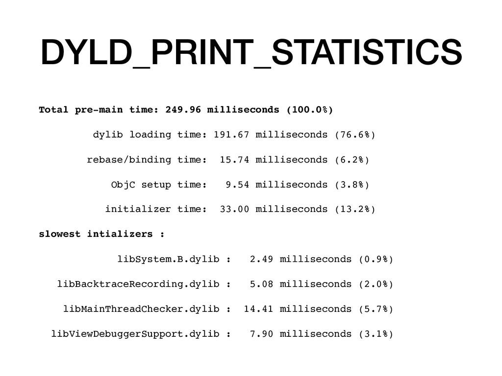 DYLD_PRINT_STATISTICS Total pre-main time: 249....