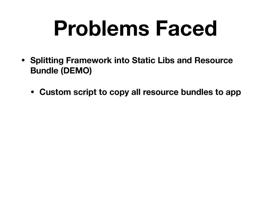 Problems Faced • Splitting Framework into Stati...